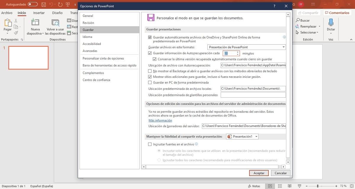 Elegir cada cuánto tiempo hacer copias de seguridad en Microsoft PowerPoint