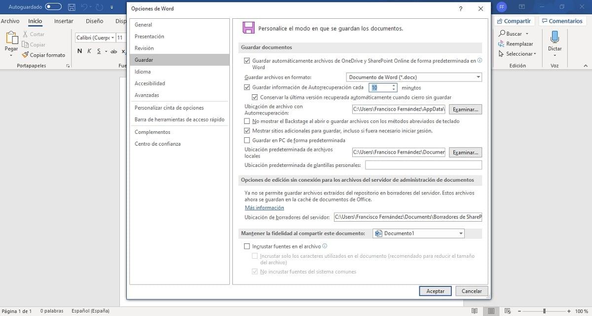 Elegir cada cuánto tiempo hacer copias de seguridad en Microsoft Word