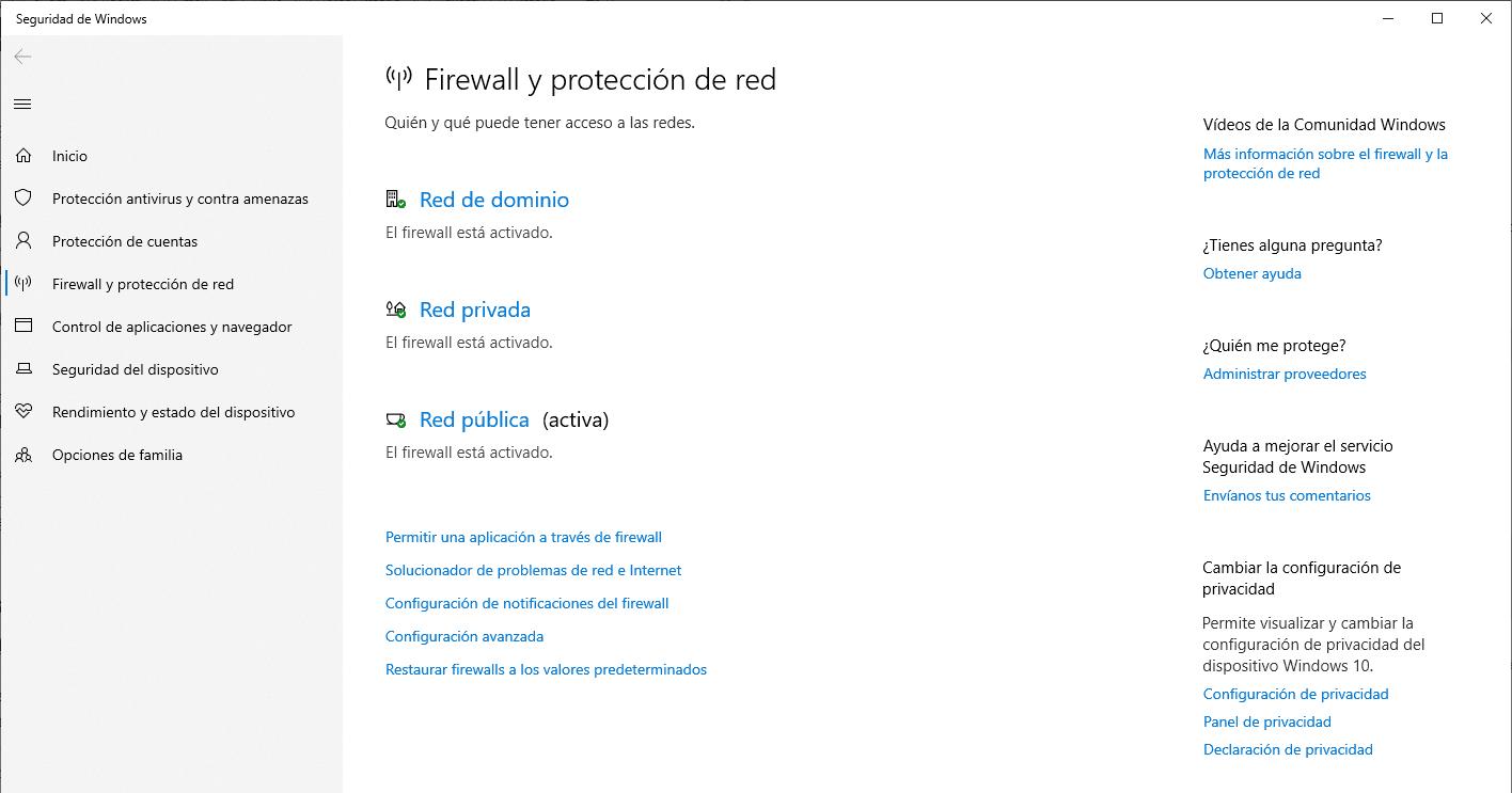 Estado Firewall Windows 10