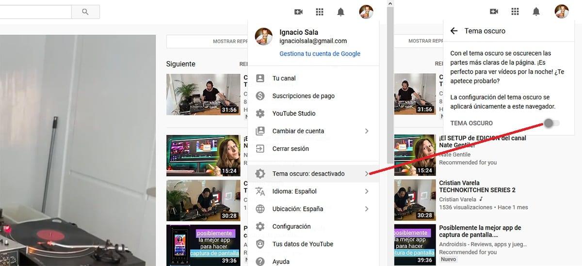 modo oscuro youtube