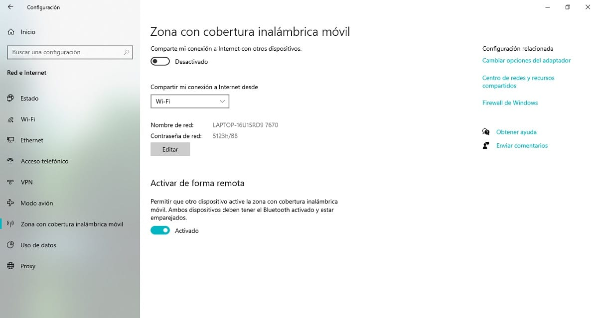 Zona con cobertura inalámbrica móvil en Windows 10