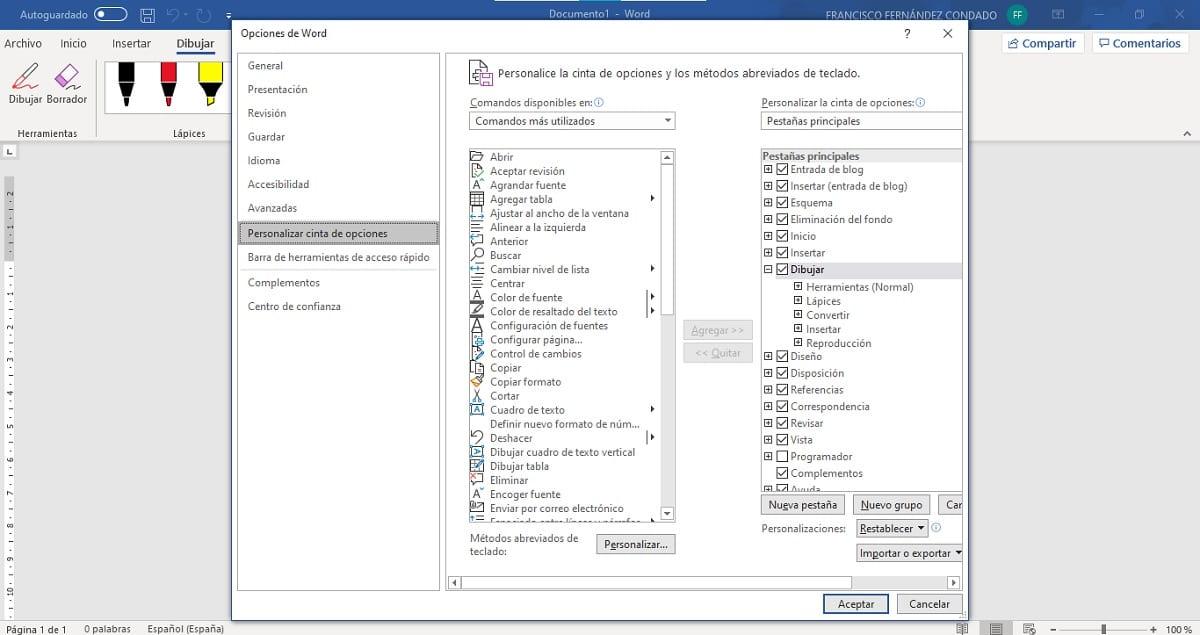 Activar opciones de dibujo en Microsoft Word