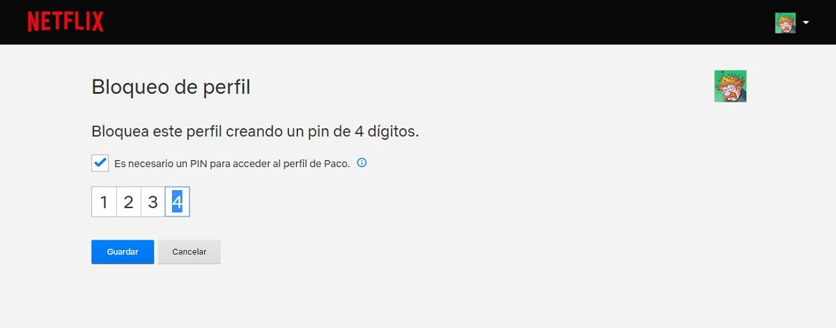 Bloquear un perfil de Netflix con un código PIN