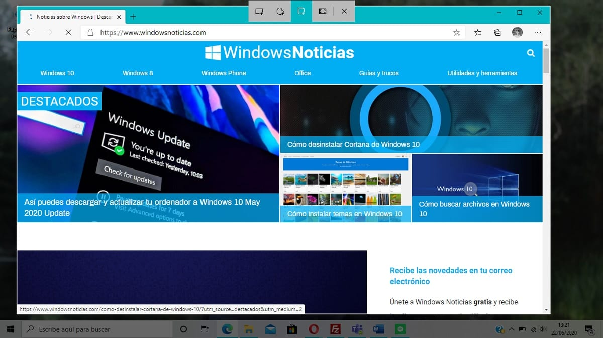 Tomar captura de pantalla de una sola ventana en Windows