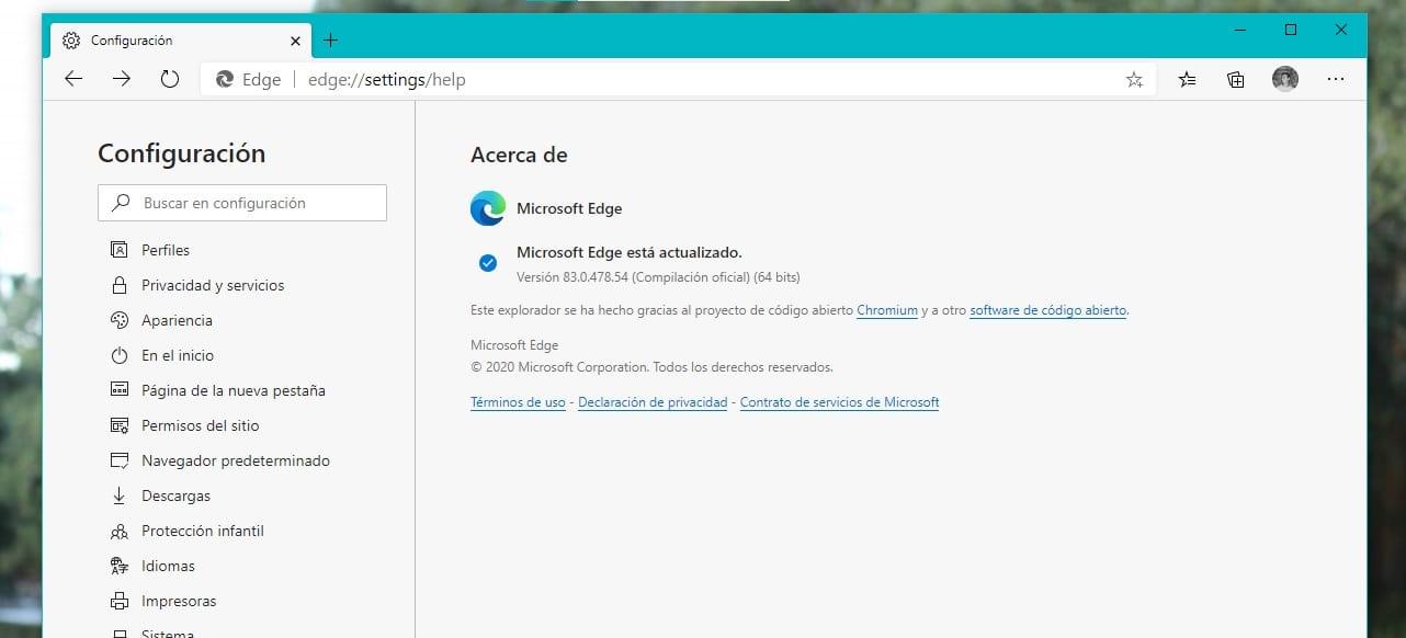 Comprobar actualizaciones en Microsoft Edge Chromium