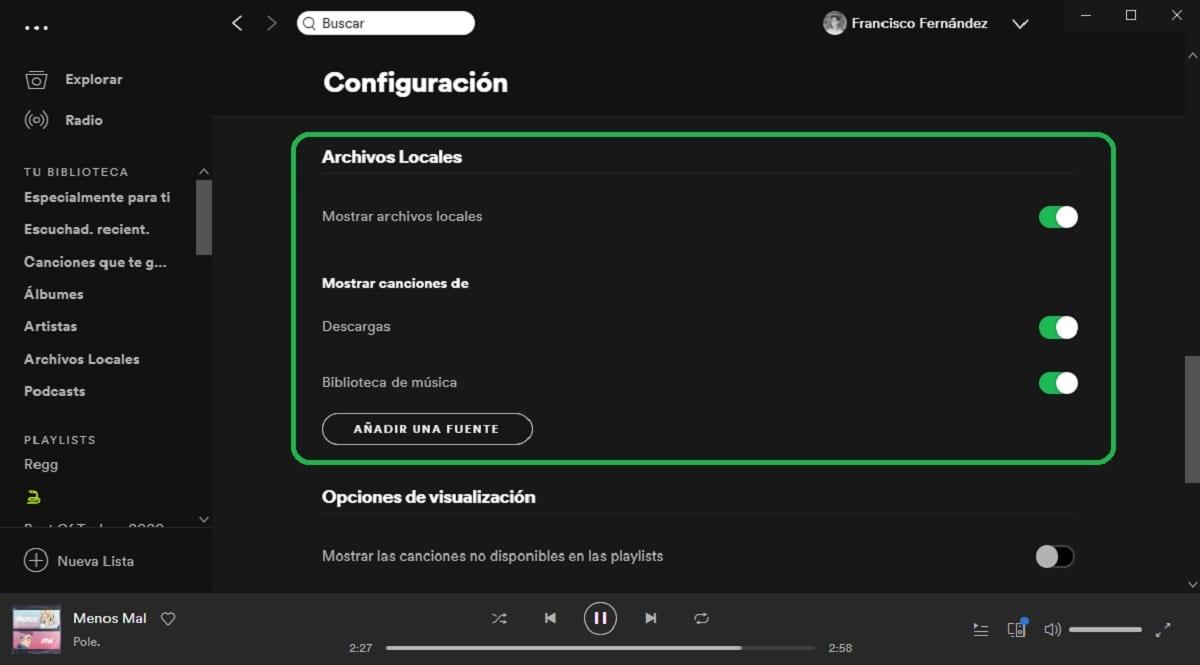 Mostrar archivos locales en Spotify para Windows
