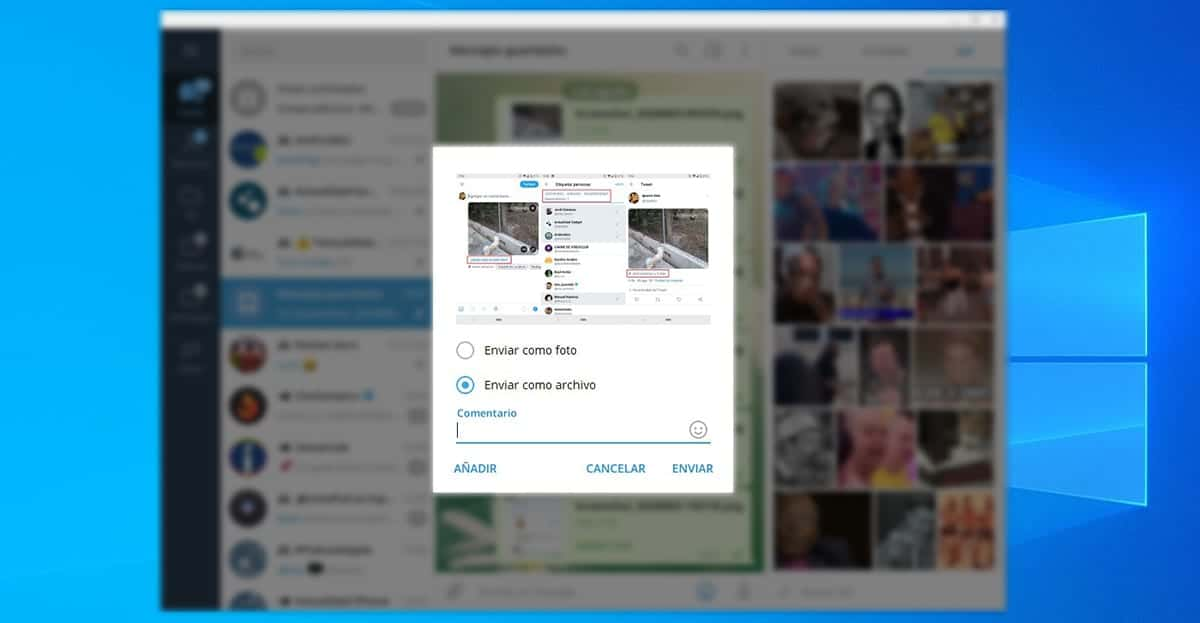 Enviar fotos sin compresión Telegram