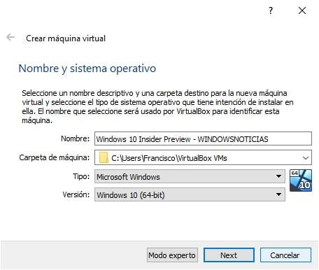 Crear máquina virtual con Windows 10 Insider Preview en VirtualBox