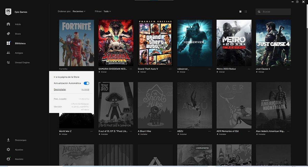 Eliminar un juego de la Epic Games Store