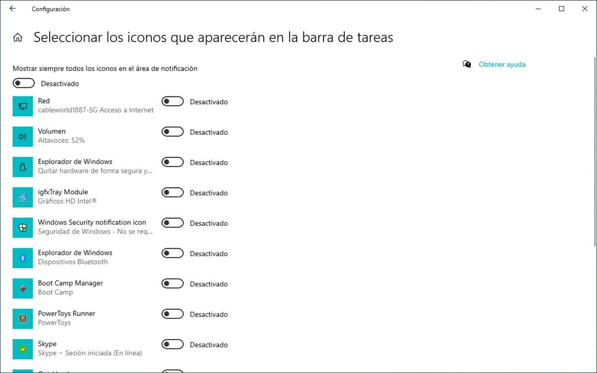 Eliminar iconos aplicaciones barra de tareas