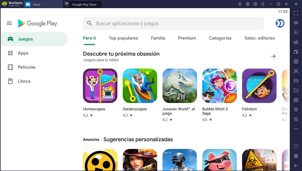Google Play en BlueStacks para Windows