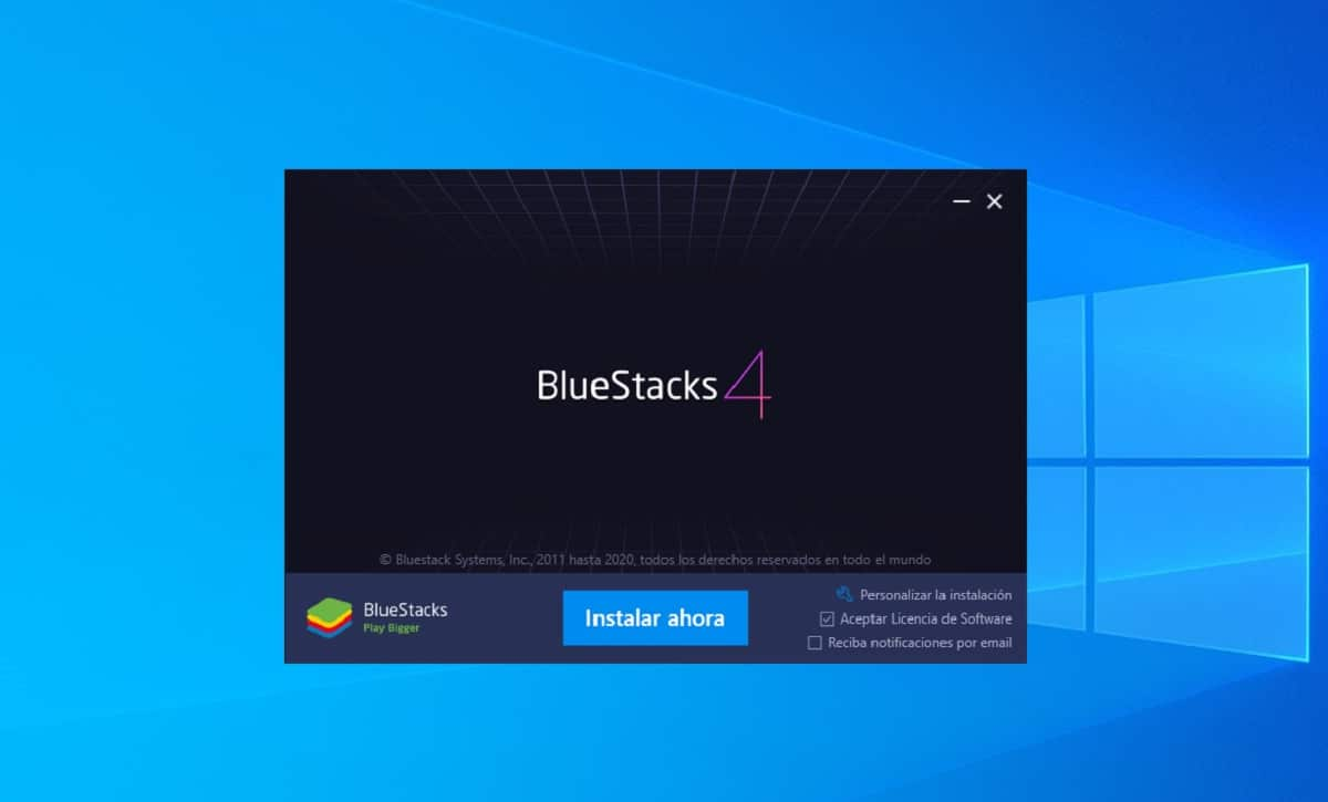 Instalar BlueStacks en Windows
