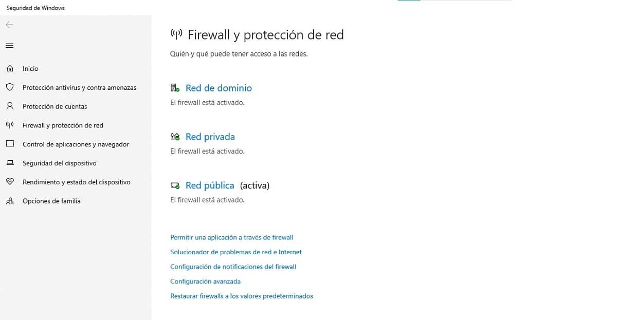 Permitir acceso al firewall de Windows 10