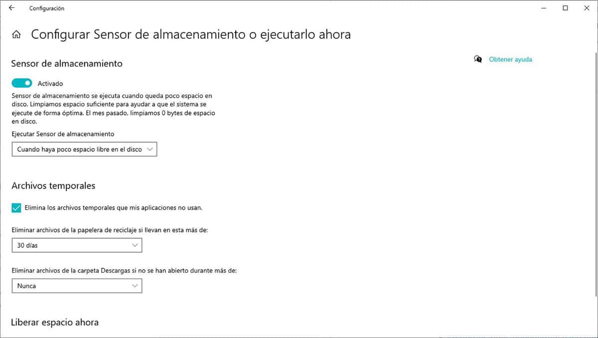 Sensor de almacenamiento Windows 10
