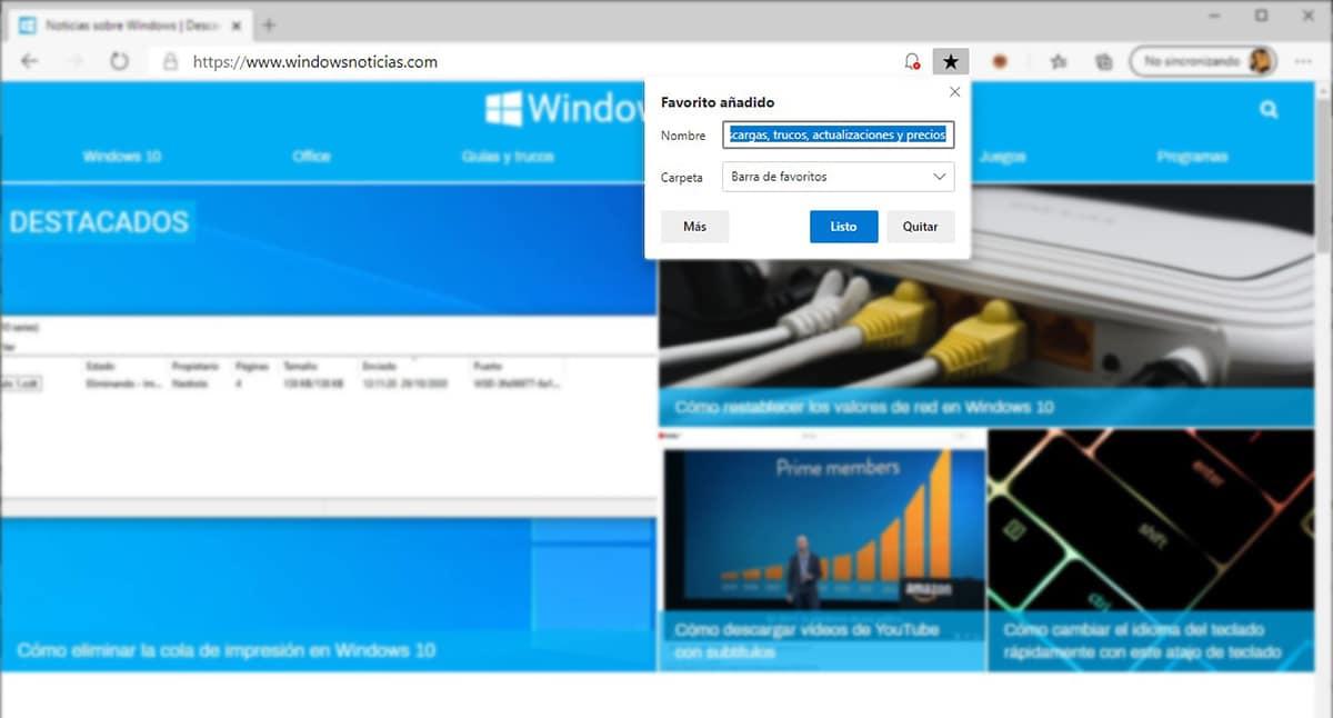 Añadir marcadores Microsoft Edge