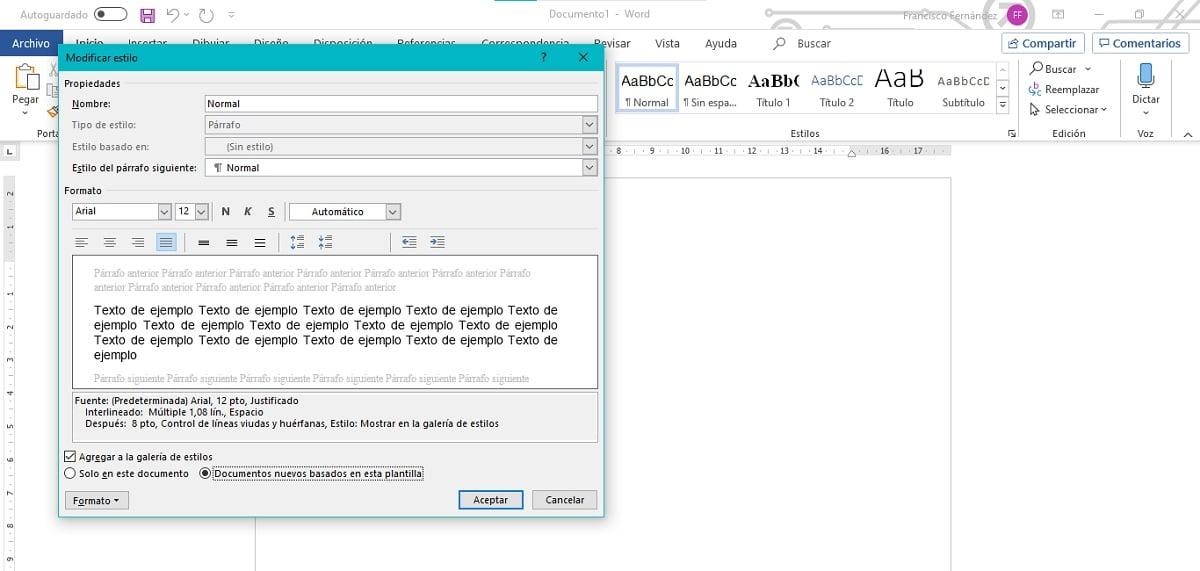 Cambiar fuente utilizada por defecto en Microsoft Word
