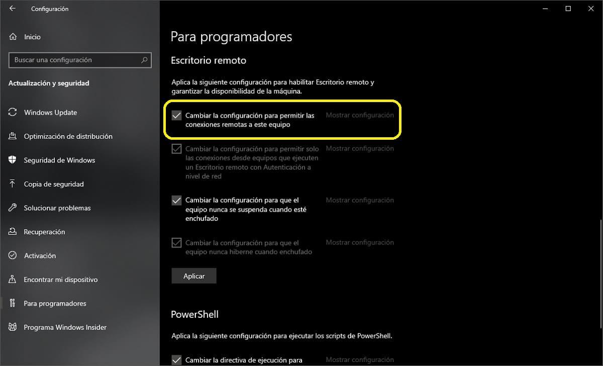 Desactivar las conexiones mediante escritorio remoto (RDP) en Windows 10