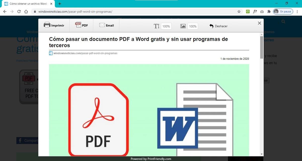 Extensión de Print Friendly para navegadores