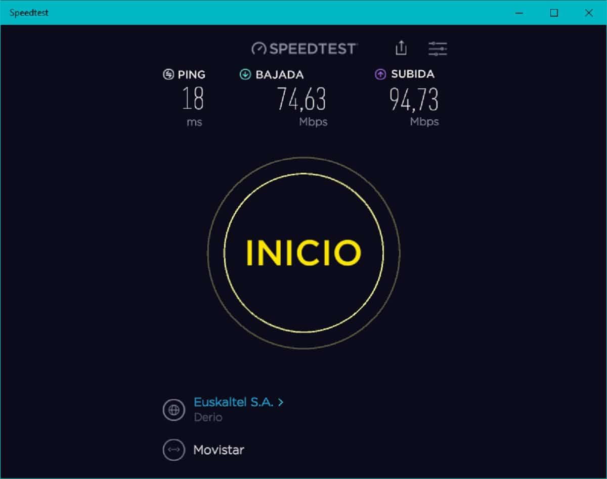Ookla Speedtest: resultados del test