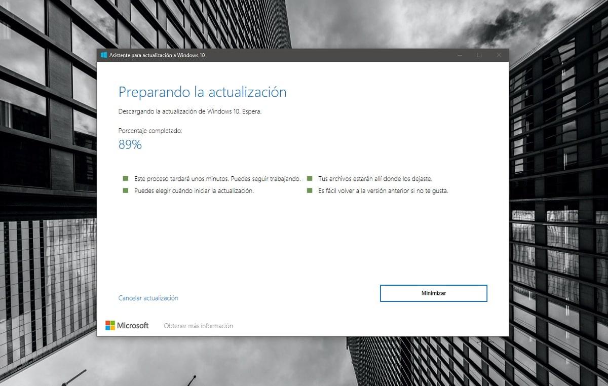 Actualizar a la última versión disponible de Windows 10