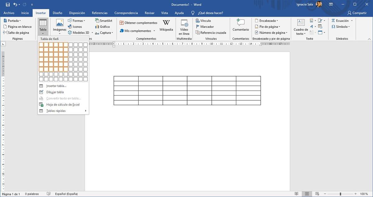 Crear tablas en Word
