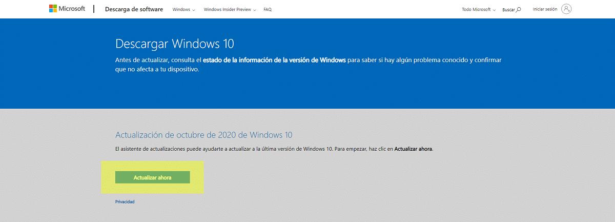 Descargar asistente de actualización de Windows 10
