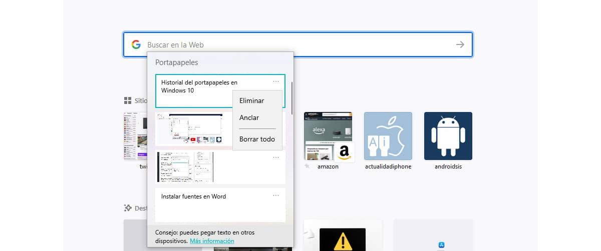 Historial del portapapeles en Windows 10