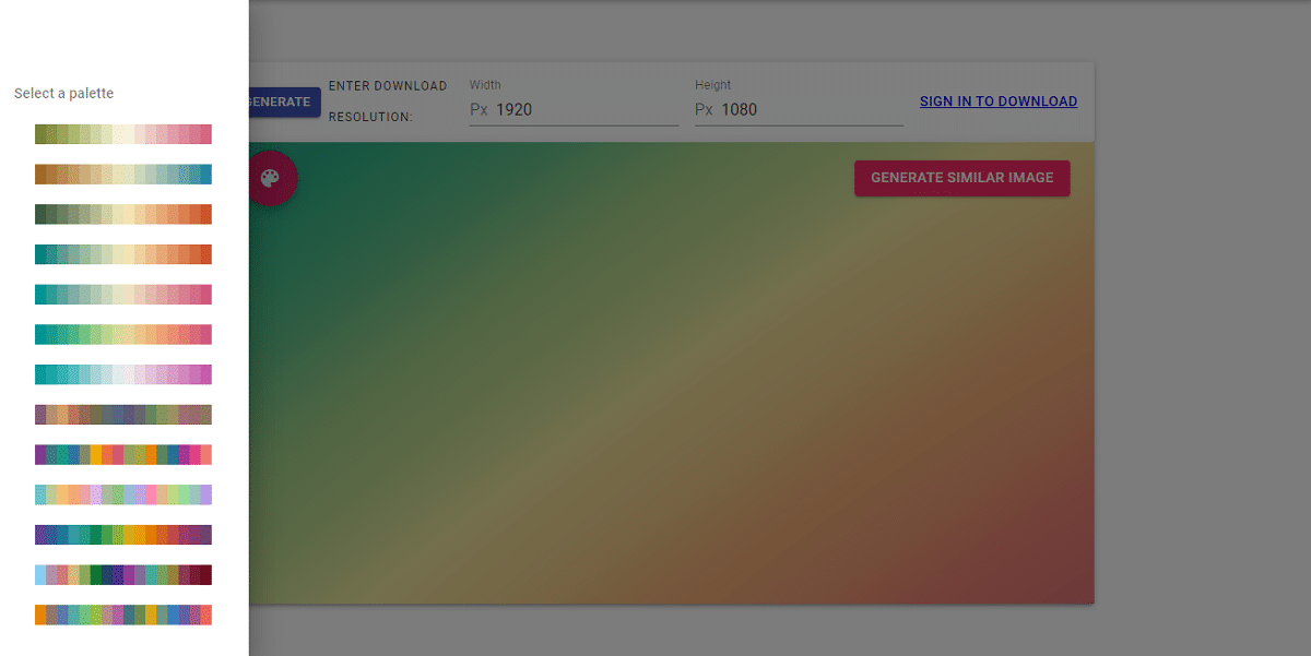 Kandinsky.io: elegir paleta de colores