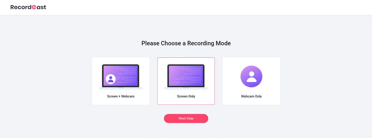 Recordcast: elegir el modo de grabación
