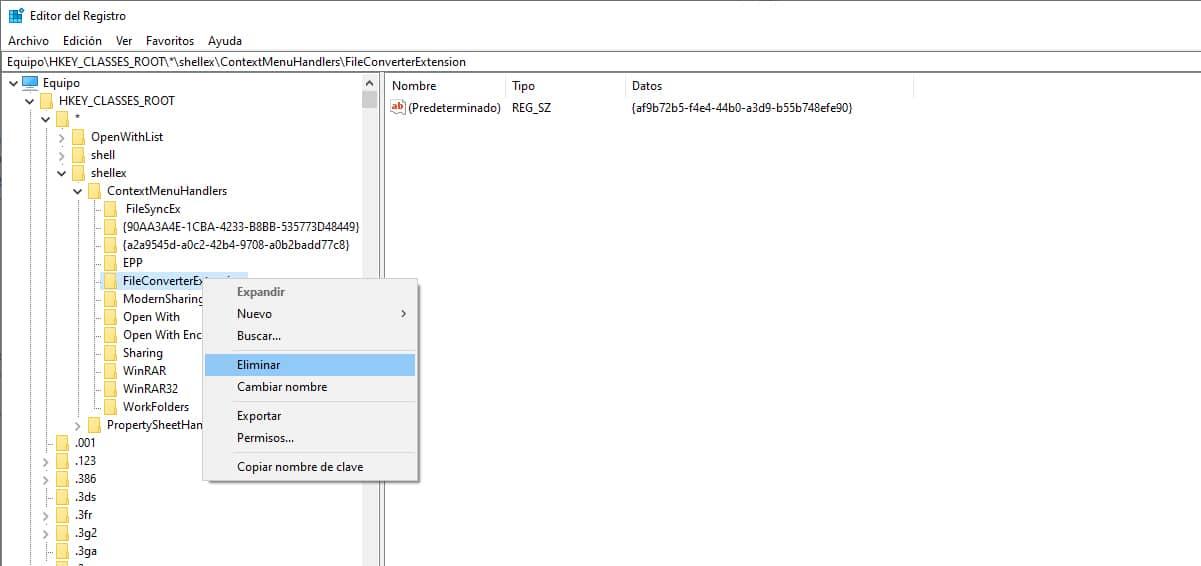 eliminar aplicaciones menu contextual