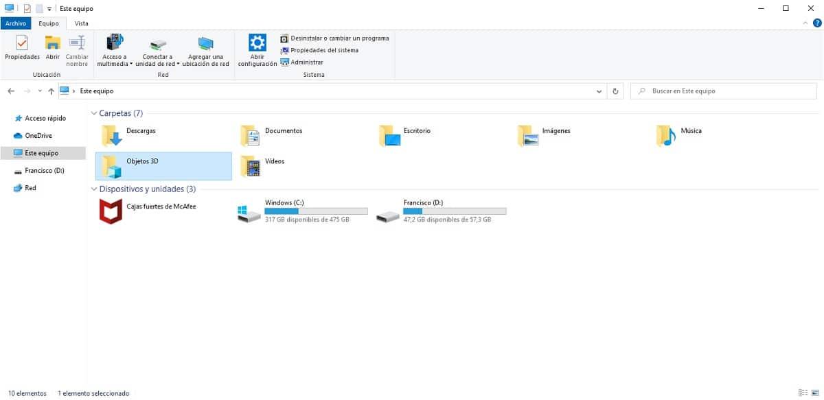 Carpeta Objetos 3D en Windows 10