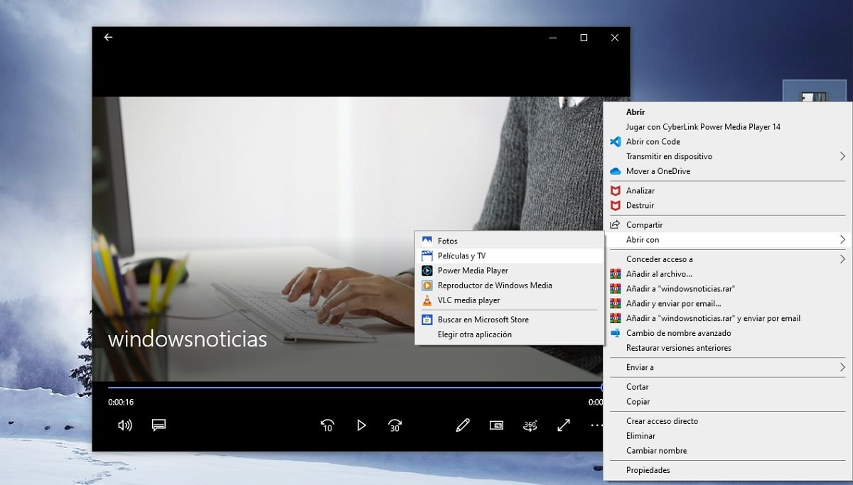 Recortar vídeos en Windows 10 sin instalar nada: abrir con Películas y TV