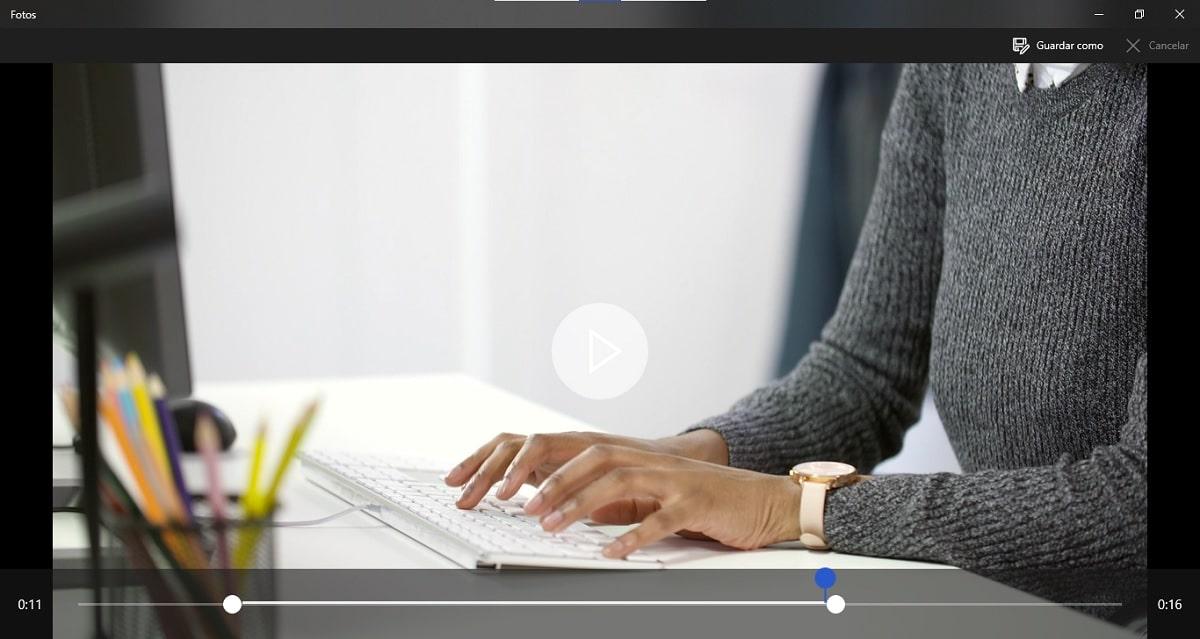 Recortar vídeos en Windows 10 sin instalar nada: recortar en Fotos
