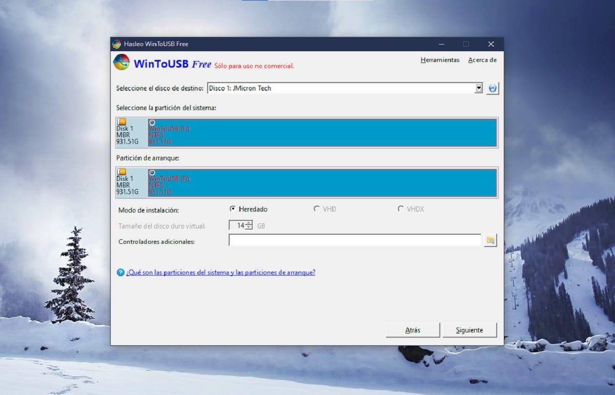 Instalar Windows en un pendrive con WinToUSB: almacenamiento