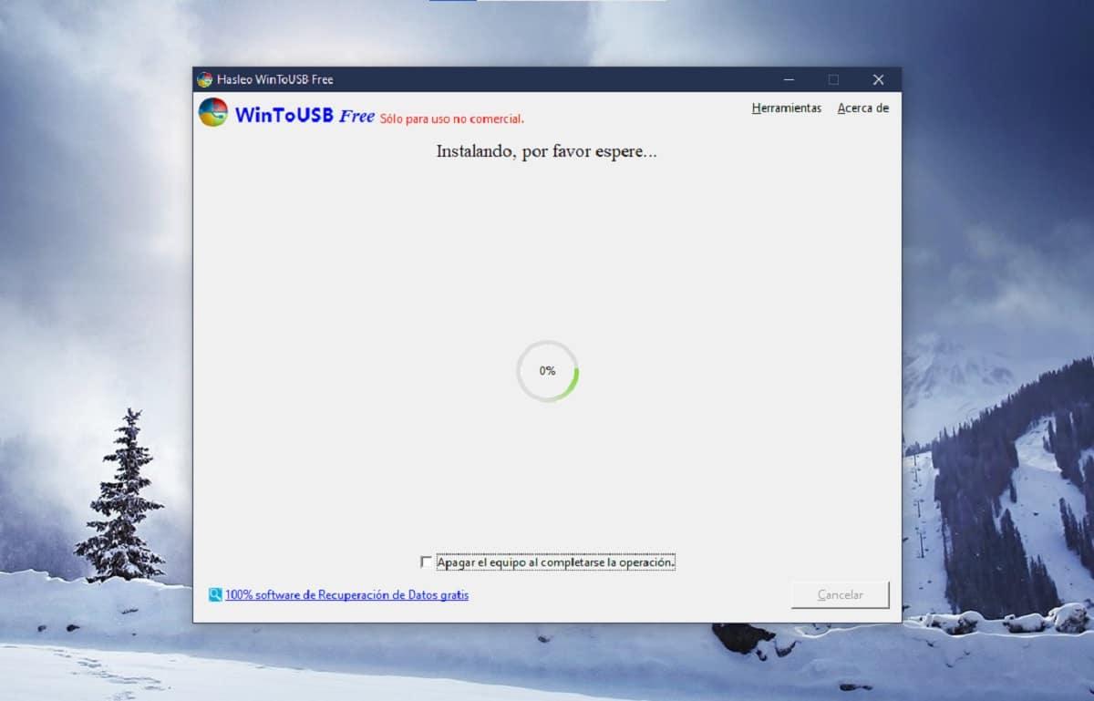 Instalar Windows en un pendrive con WinToUSB: instalación del sistema operativo