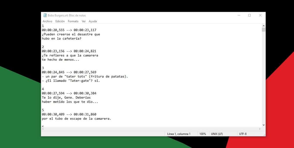 abrir archivos srt