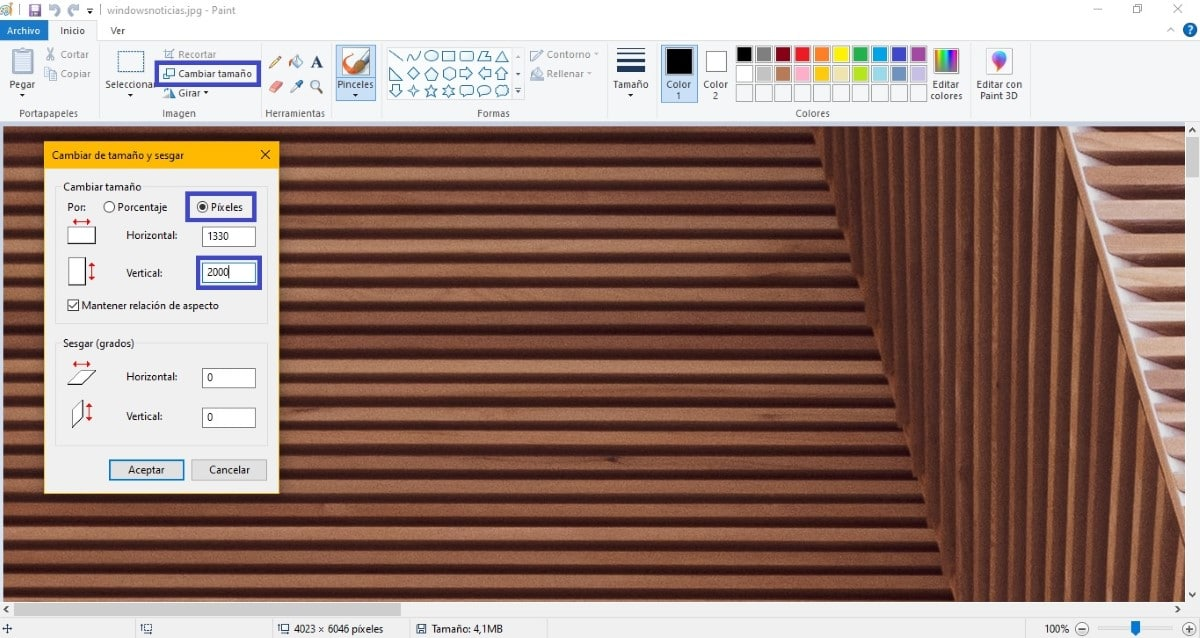 Cambiar el alto de una imagen usando Paint