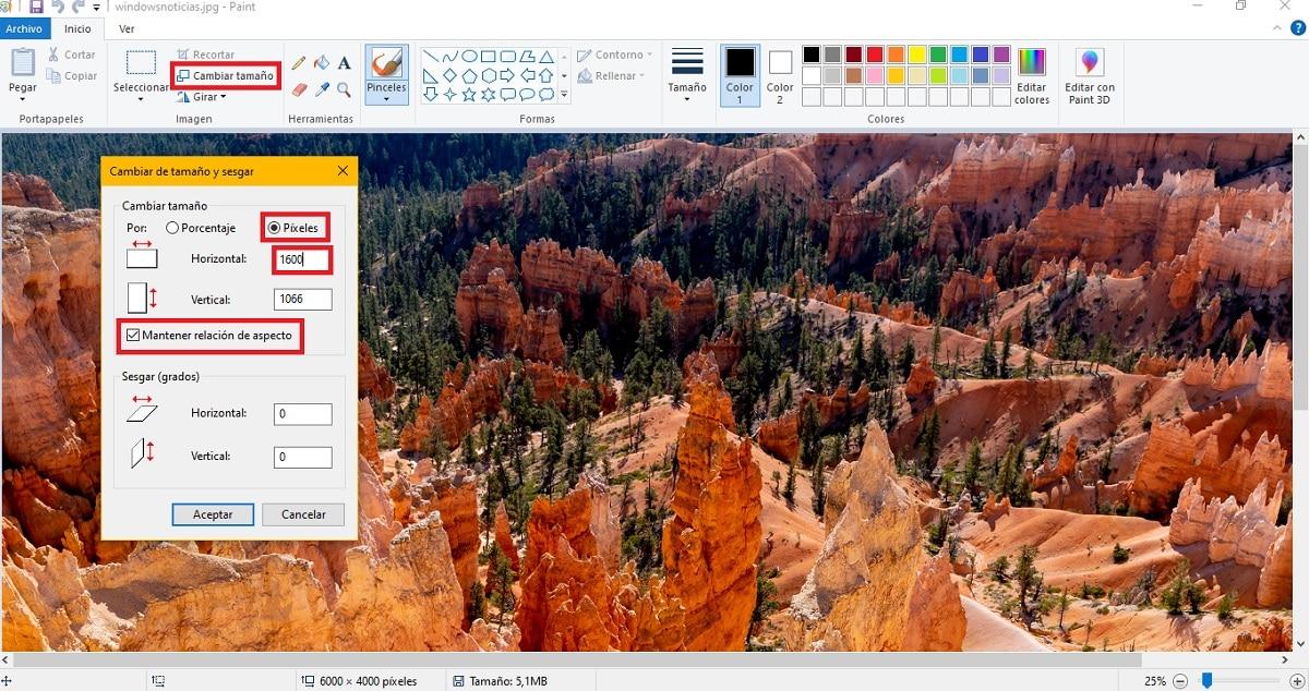 Cambiar el ancho de una imagen usando Paint
