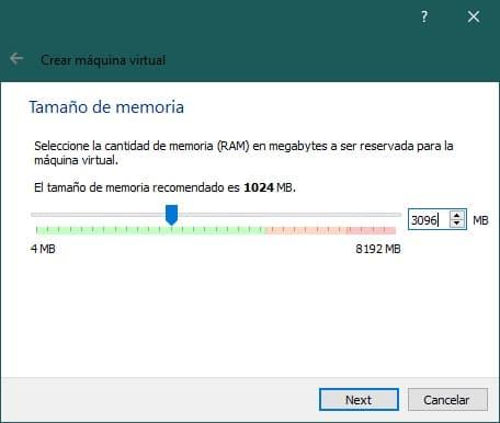 Crear una máquina virtual con VirtualBox para instalar Android: tamaño de memoria RAM