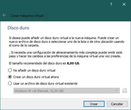 Crear una máquina virtual con VirtualBox para instalar Android: disco duro