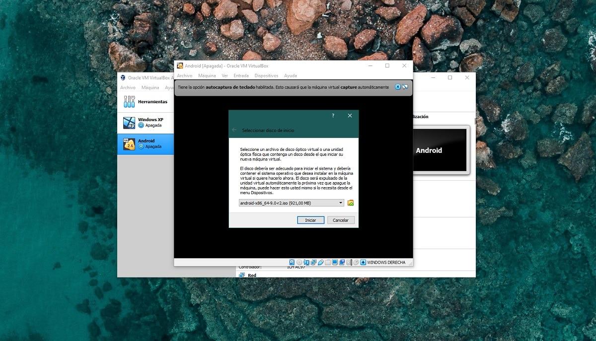Instalar Android en VirtualBox: elegir disco de inicio