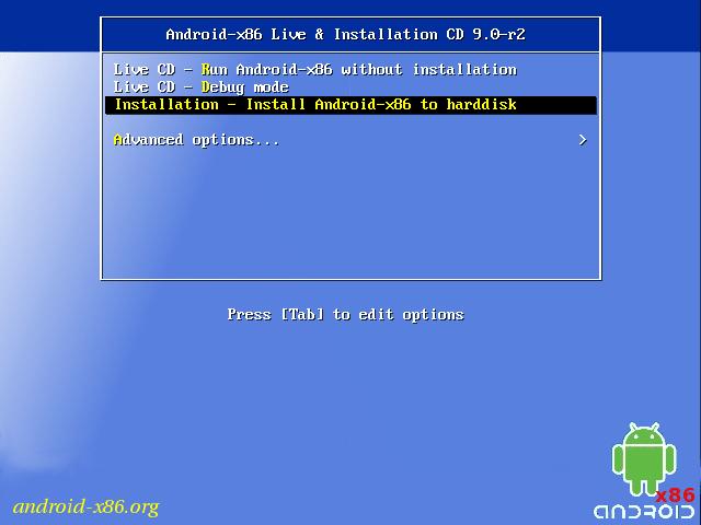 Instalar Android-x86 en VirtualBox: opciones de arranque