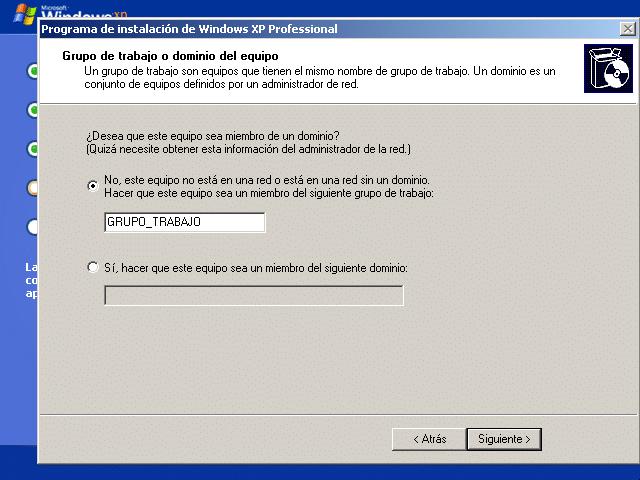 Instalar Windows XP en VirtualBox: grupo de trabajo