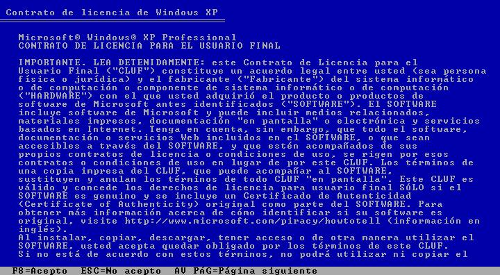 Instalar Windows XP en VirtualBox: contrato de licencia
