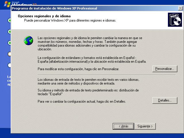 Instalar Windows XP en VirtualBox: configuración regional