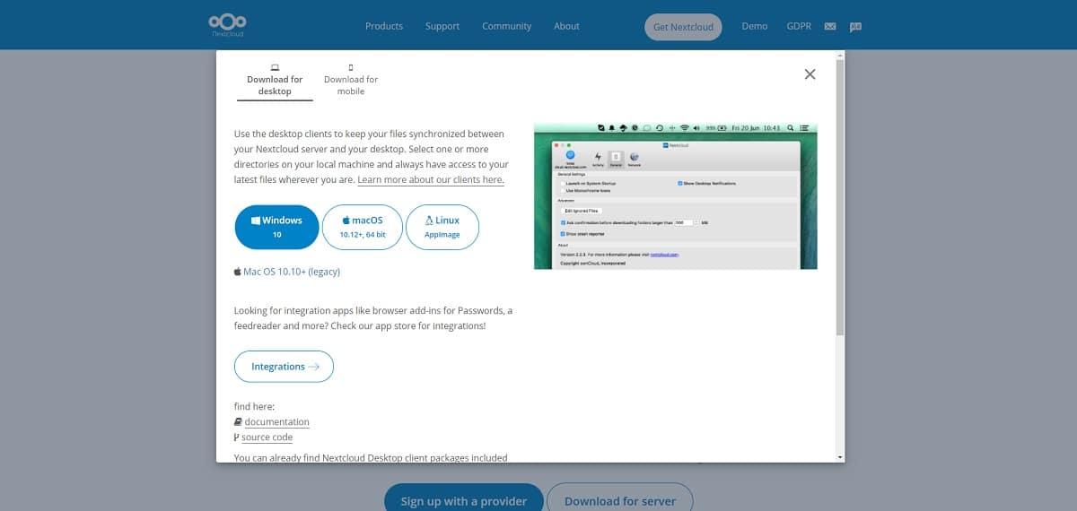 Descargar cliente de Nextcloud para Windows