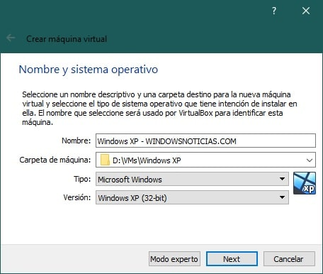 Crear una máquina virtual con VirtualBox para instalar Windows XP: opciones básicas