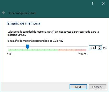 Crear una máquina virtual con VirtualBox para instalar Windows XP: tamaño de memoria