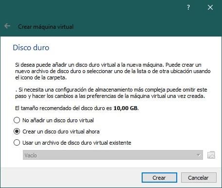 Crear una máquina virtual con VirtualBox para instalar Windows XP: disco duro
