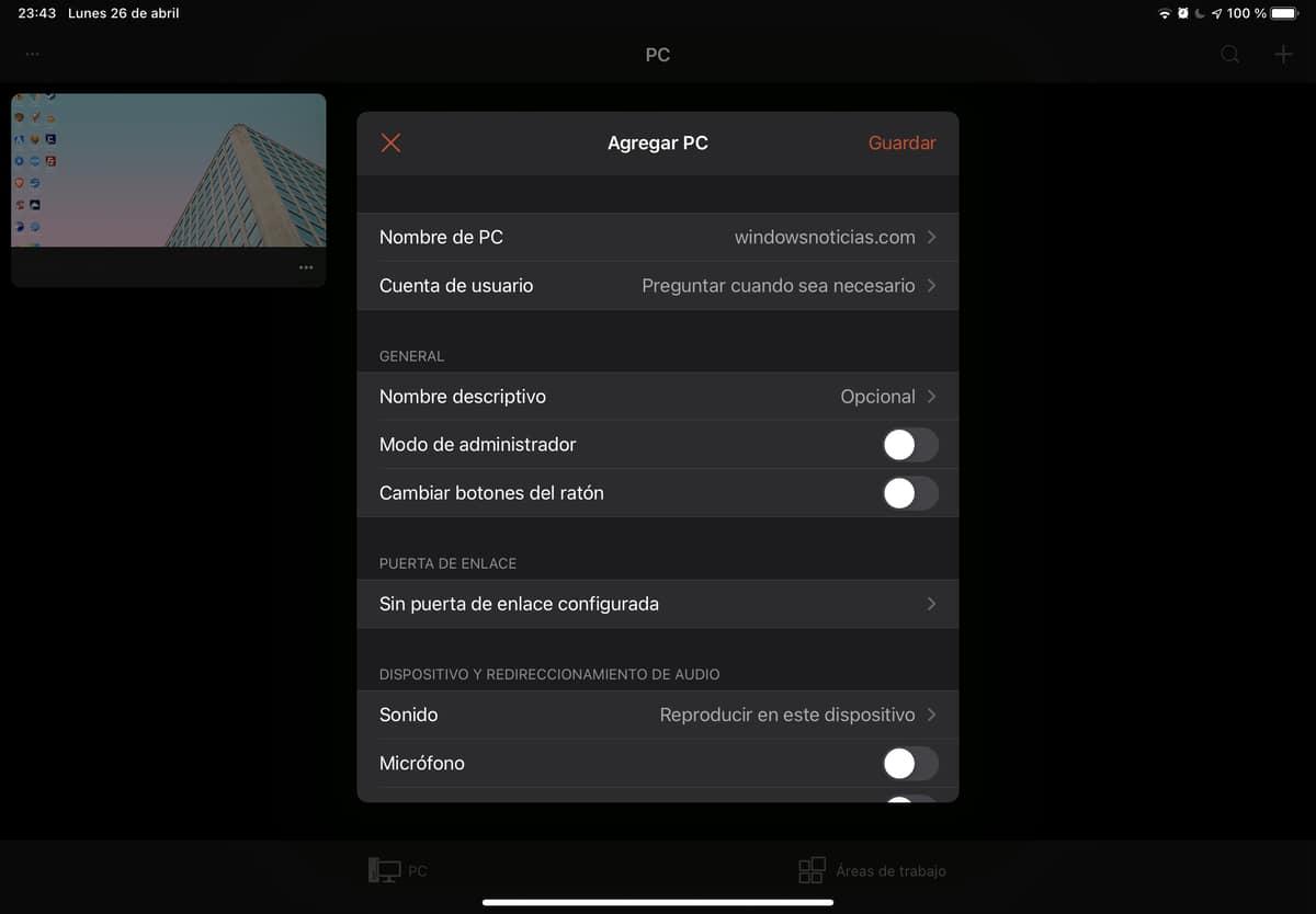 Agregar un nuevo equipo para conectar mediante escritorio remoto desde iPad